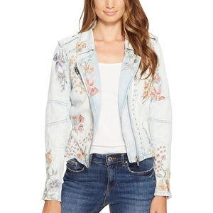 NWT Blank NYC Floral Embroidered Denim Jacket